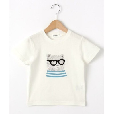 Dessin/デッサン 【100~140cm】ベアグラフィッククルーネックTシャツ ホワイト(001) 12(120cm)