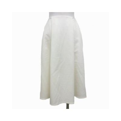 【中古】エムプルミエ M-Premier スイング スカート ひざ丈 インバーテッド フレア 38 白 ホワイト レディース 【ベクトル 古着】