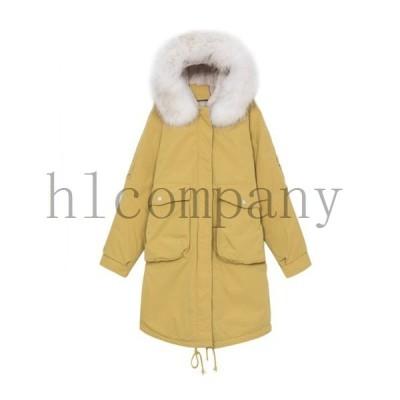 レディースロングコート韓國中綿コートジャケットフード付きシルエットコート防寒カジュアルゆったり