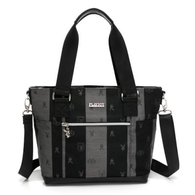 PLAYBOY-  手提包可斜背 緹花系列- 灰色