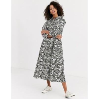 エイソス レディース ワンピース トップス ASOS DESIGN trapeze midi shirt dress in leopard print Leopard print