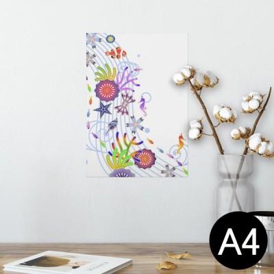ポスター ウォールステッカー シール式 210×297mm A4 写真 壁 インテリア おしゃれ wall sticker poster 花 海 イラスト 004524