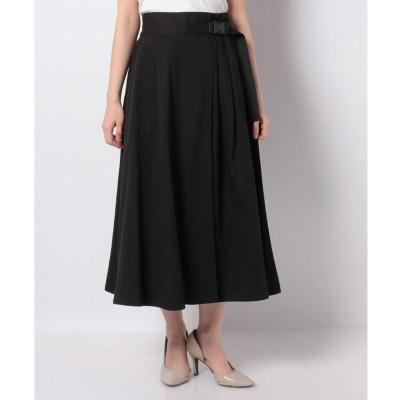 Melan Cleuge 【Melan Cleuge women】綿ツイルベルト付ラップフレアスカート(ブラック)【返品不可商品】