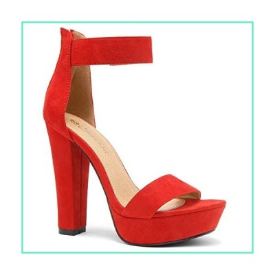 Shoe Land SL-Cutesy Women's Open Toe Ankle Strap Chunky Platform Dress Heel Sandal 1901Red 7.5並行輸入品