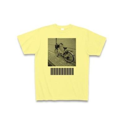 自転車とバーコード Tシャツ(ライトイエロー)