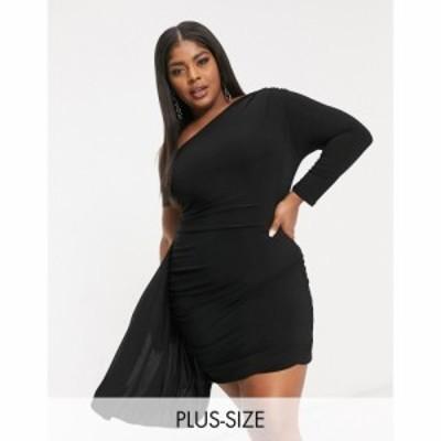 クラブエル ロンドン Club L London Plus レディース ワンピース One Shoulder Mini Dress With Asymmetric Ruffle Detail In Black ブラ