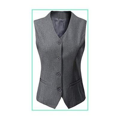 """Vocni Women's Fully Lined 4 Button V-Neck Economy Dressy Suit Vest Waistcoat Light Gray US L+/Asia 6XL: (Fit Bust 44.1""""-46.5"""")並行輸入"""
