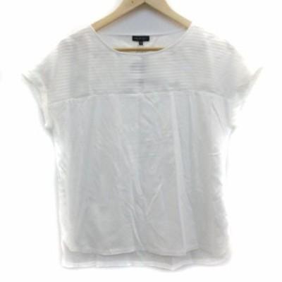 【中古】未使用品 インディヴィ Tシャツ カットソー 半袖 ラウンドネック ボーダー柄 切替 M 白 ホワイト レディース