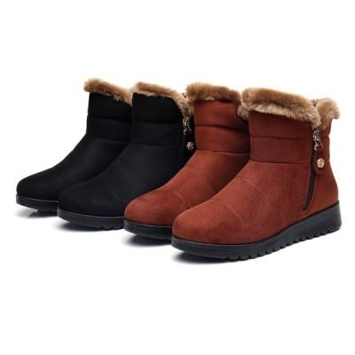 ブーツ レディース 冬 ムートンブーツ 裏起毛 ファー付き ショートブーツ 厚底 防寒 ぺたんこ 靴 ファーシューズ もこもこ 暖か ママ スノーブーツ 裏ボア靴