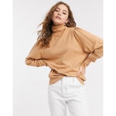 エイソス レディース ニット・セーター アウター ASOS DESIGN roll neck sweater with open back in camel Camel