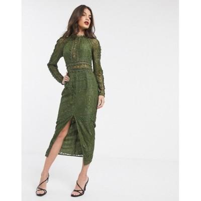 エイソス レディース ワンピース トップス ASOS DESIGN long sleeve pencil dress in lace with geo lace trims