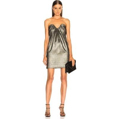 イヴ サンローラン Saint Laurent レディース ワンピース ビスチェ ミニ丈 ワンピース・ドレス metallic bustier mini dress Black/Gold/Silver