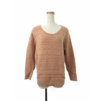 【中古】クリアインプレッション CLEAR IMPRESSION セーター ニット ケーブル ドロップショルダー 長袖 2 オレンジ レディース