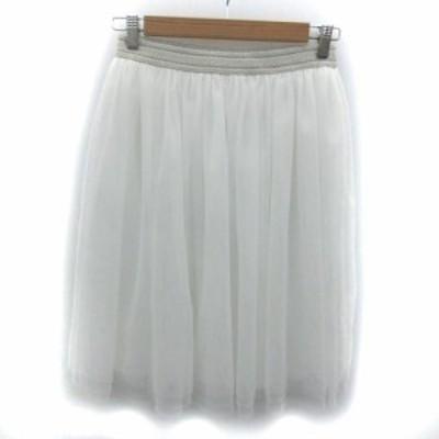 【中古】アーバンリサーチ URBAN RESEARCH スカート フレア チュール ひざ丈 F ホワイト 白 /YM41 レディース