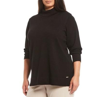 カルバンクライン レディース ニット&セーター アウター Plus Size Solid Turtleneck Sweater Black