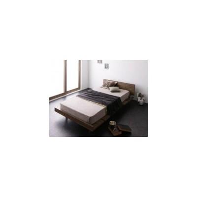 ベッド シングル ローベッド 低い フレーム フラット ヘッドボード 薄型 板 北欧 おしゃれ ヴィンテージ 脚付き SボンネルCマットレス付 ステージ 枠幅120