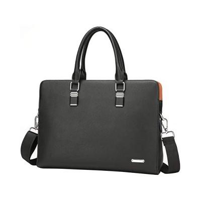 FSDWG ビジネスバッグ 本革 A4サイズ対応 防水 ビジネスバック ブラック ブルー (ブラック L)