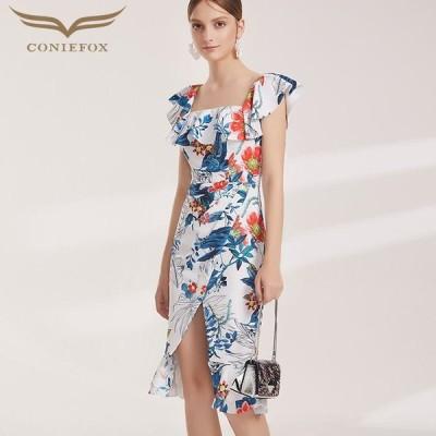 【CONIEFOX】高品質★花柄フリル半袖付きスリットマーメイドタイトライン膝丈ドレス♪ホワイト 白 ブルー 青 ワンピース