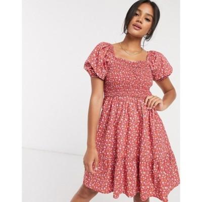 マンゴ レディース ワンピース トップス Mango shirred top volume sleeve dress in floral print