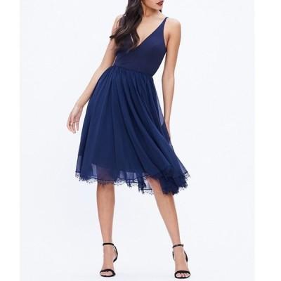 ドレスザポプレーション レディース ワンピース トップス Dress The Population Alicia Chiffon V-Neck Sleeveless Midi Dress