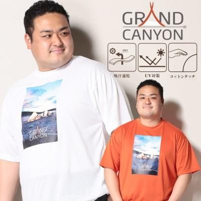 半袖 Tシャツ 大きいサイズ メンズ 吸汗速乾 UV対策 コットンタッチ クルーネック ホワイト/オレンジ grandcanyon