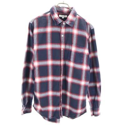 グローバルワーク チェック柄 長袖 ネルシャツ L ネイビー×レッド GLOBAL WORK メンズ 古 wg5-0609