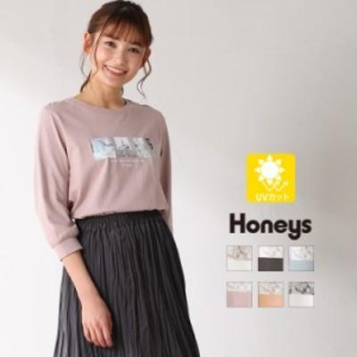 トップス Tシャツ 7分袖 フォトプリント オーガニックコットン 綿 シンプル レディース 春新作 Honeys ハニーズ 7分袖フォトプリントT