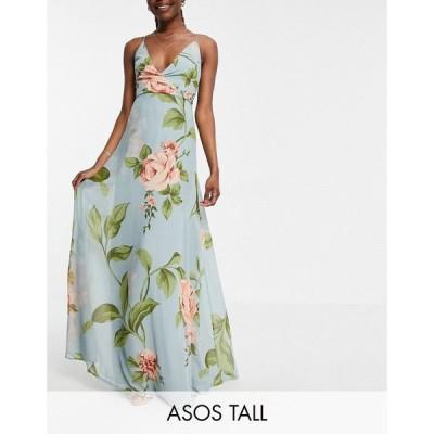 エイソス ASOS Tall レディース ワンピース ラップドレス キャミワンピ Tall Cami Wrap Maxi Dress With Lace Up Back In Large Blue Floral Print