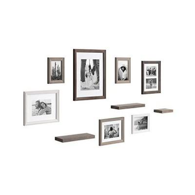 新品Kate and Laurel Bordeaux Gallery Wall Frame and Shelf Kit, Set of 10, Multicolored with Whitewash, Charcoal Gray, and Farmhouse Gray,
