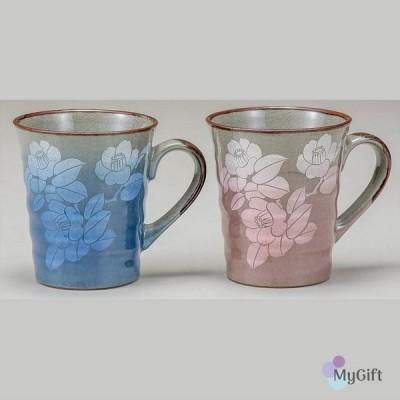 九谷焼 ペアマグカップ 銀彩山茶花 K6-914 母の日 両親 来客用 湯呑み タンブラー コップビアカップ ギフト 贈り物 和食器