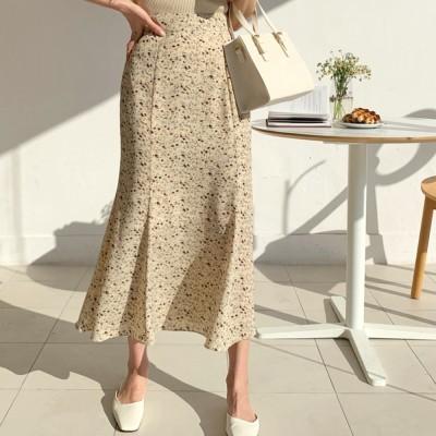 【新作追加】フェミニン フラワー マーメイド ロングスカート·女らしいデイリールック韓国ファッション [ブランド201]_1000106410
