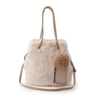 トートバッグ バッグ 【WEB限定カラーあり】エコファー巾着ラビポーチ2WAYトート