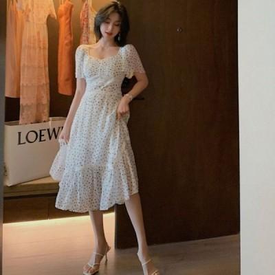 ドレス サマードレス ワンピース ドット柄 水玉 袖あり 半袖 透け感 カジュアル リゾート ガーリー