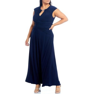 ヴィンスカムート レディース ワンピース トップス Plus Size Cap Sleeve Embellished Keyhole Neck Ruched Waist Gown Navy