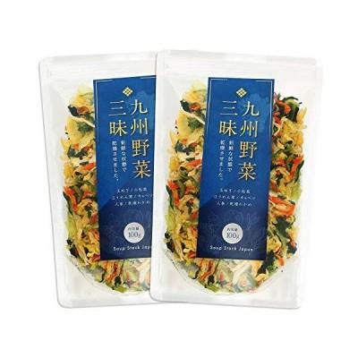 九州野菜三昧 乾燥野菜 国産 無添加 野菜5種類+わかめ ミックス 100g (2袋) みそ汁の具 ラーメンの具 カップ?の