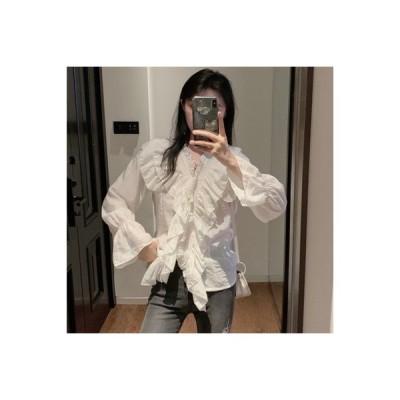 【送料無料】ラッフルホワイト シフォンシャツ 女性 デザイン 感 小 秋 フレンチ タイプ | 364331_A63707-8624367