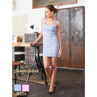 ドレス キャバドレス ワンピース ナイトドレス S M サイズ ノースリワンカラーシンプルタイト ミニドレス ミニ丈 changeclothes
