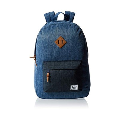 Herschel Heritage Backpack, Faded Denim/Indigo Denim/Tan Synthetic Leather, Mid-Volume 14.5L 並行輸入品