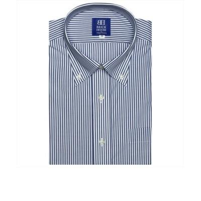 ワイシャツ 半袖 形態安定 ボタンダウン 白×ネイビーストライプ 新体型