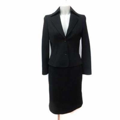 【中古】ニューヨーカー セットアップ スーツ テーラードジャケット 総裏地 フレアスカート ひざ丈 ツイード 7AR 黒
