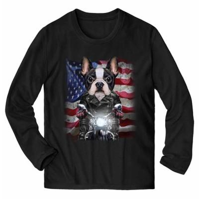 【かわいい フレンチブルドッグ ドッグ 犬 いぬ バイク 星条旗 アメリカ】メンズ 長袖 Tシャツ by Fox Republic