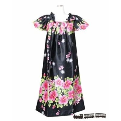 【送料無料】沖縄生まれのムームードレス、フレンチスリーブでゆったり着れます!黒地にピンクのハイビスカス