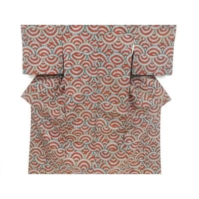 宗sou 青海波模様織出し手織真綿紬着物【リサイクル】【着】