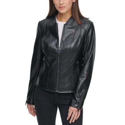 ケネスコール コート アウター レディース Faux-Leather Zip-Front Jacket Black