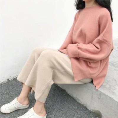 ニット セーター くすみカラー パステルカラー ふんわり 柔らか フェミニン マカロンカラー ガーリー ゆったりサイズ 大きめ