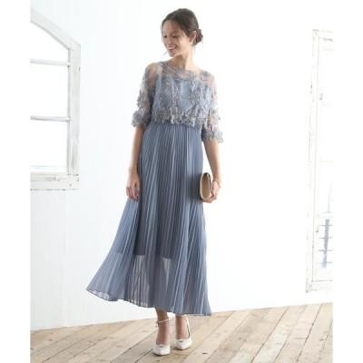 ドレス オリジナル模様柄刺繍レース使い プリーツ加工ミモレ丈ワンピースドレス