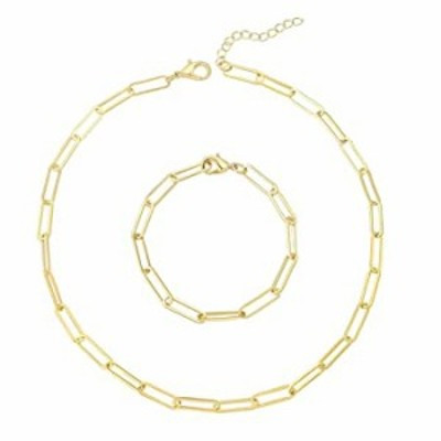 Reoxvo Gold Chain Necklace and Bracelets Set Gold Paperclip Link Chain Necklaces for Women