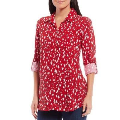 イントロ レディース シャツ トップス Petite Size Christmas Tree Print Roll-Tab Sleeve Button Down Hi-Low Shirt Tango Red