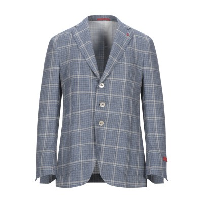 イザイア ISAIA テーラードジャケット パステルブルー 48 ウール 69% / シルク 16% / リネン 13% / ナイロン 2% テーラ