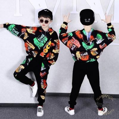 韓国子供服 2点セット ジャージ スウェット 男の子 春秋 キッズ セットアップ ジュニア服キッズ ダンス衣装 ヒップホップ セットアップ 新作